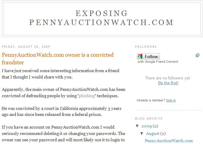 penny auction watch scam