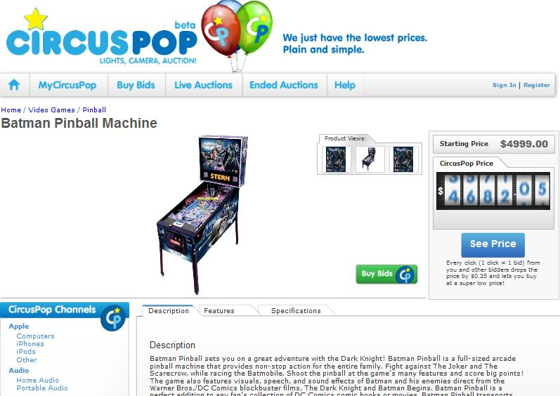 pinball machine circuspop
