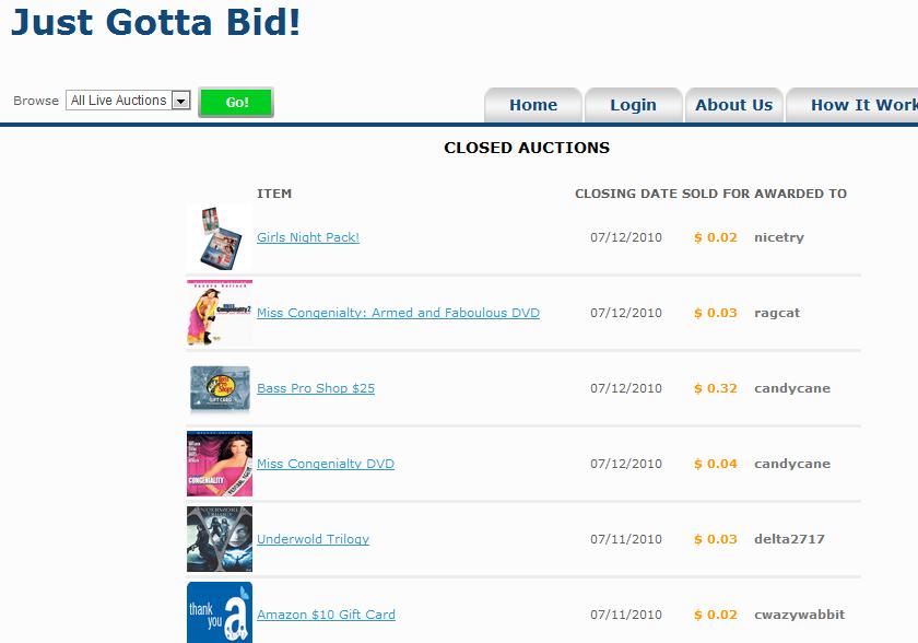 JustGottaBid.com Penny Auction Items