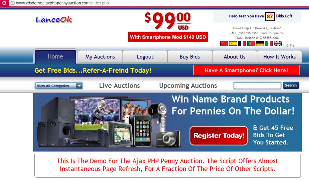 ajax php  penny auction