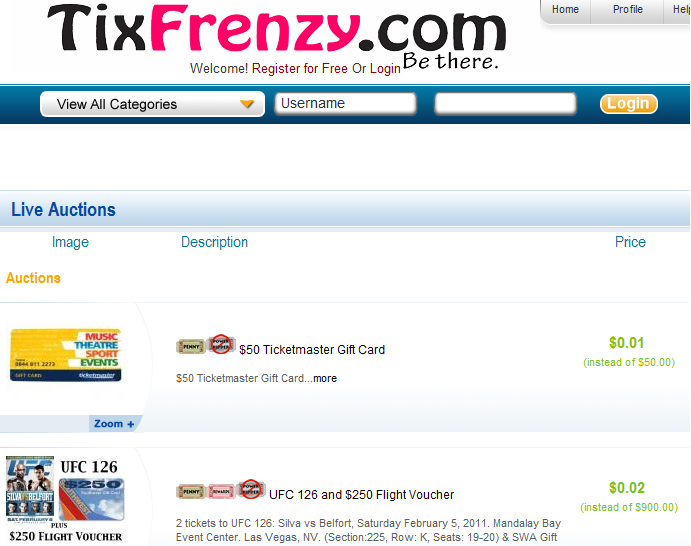 Tixfrenzy penny auction