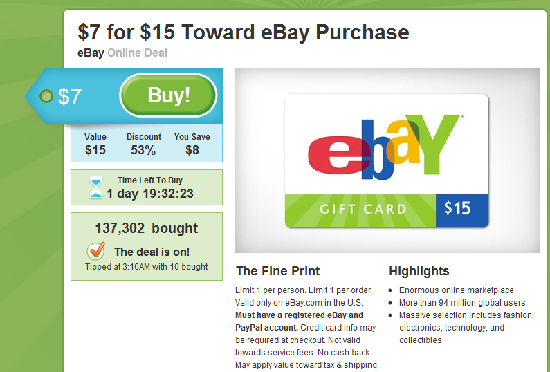 ebay gift card coupon