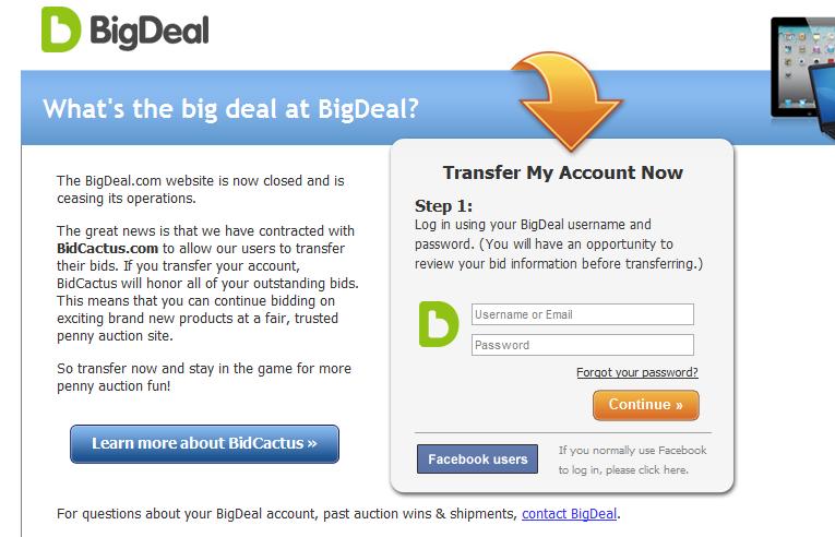 bigdeal.com shut down today bids can be transferred to bidcactus