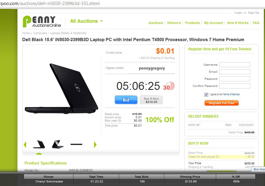parpoo penny auction item laptop