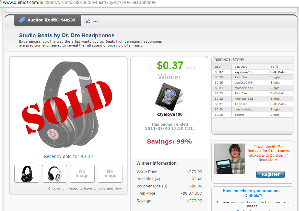 Penny Auction for Dr. Dre Headphones, the winner won them for under $3.