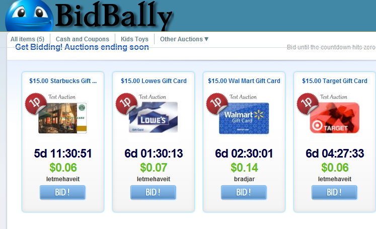 penny auction bidbally Bid Your Price