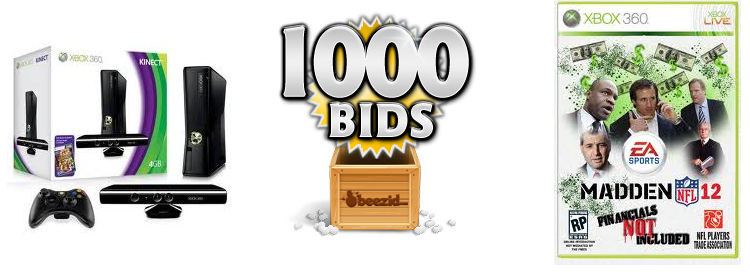 beezid and penny auction watch giveaway prizes xbox, 1000 free bids