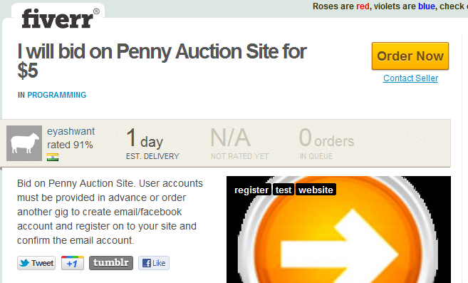 fiverr shill bidding for penny auctions