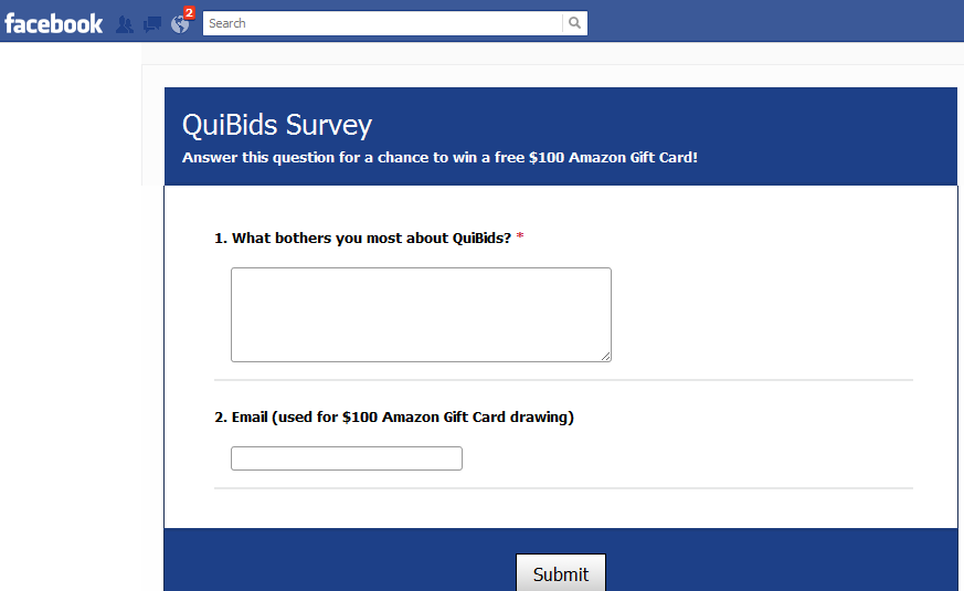 Quibids Penny Auction Survey on Facebook