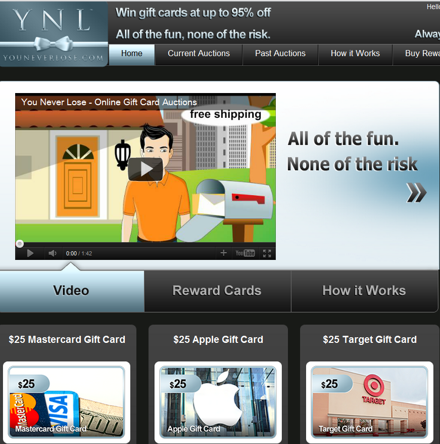 youneverlose penny auction site rewards free bids