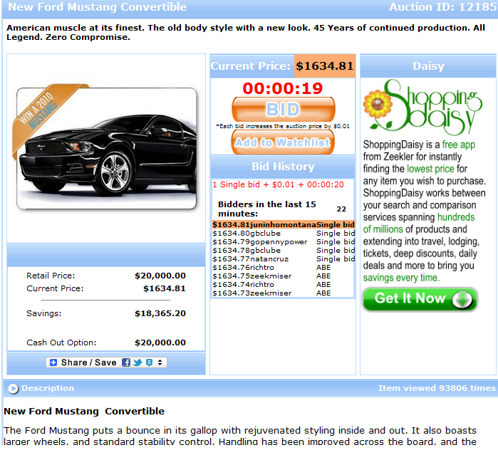 Penny auction for a brand new car