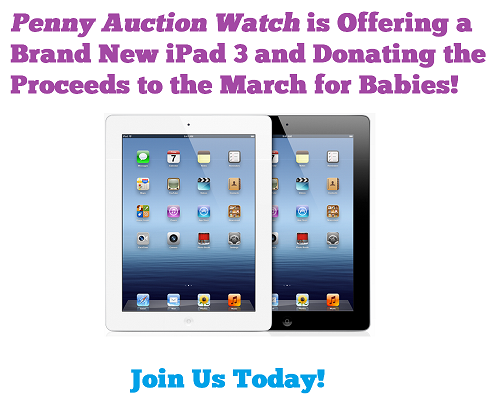 Penny Auction Watch March for Babies Benefit for a Brand New iPad 3