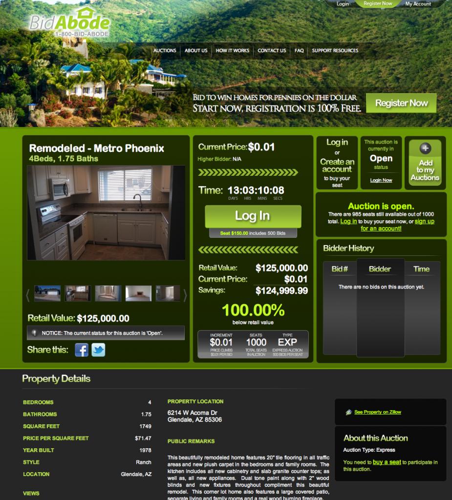 bidabode.com real estate penny auction site