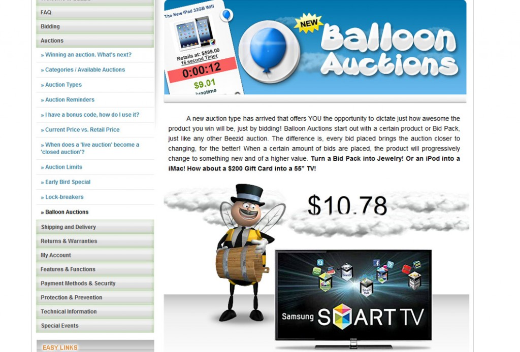 balloon auctions on beezid