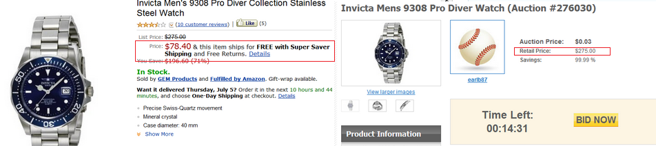 watch on penny auction site skoreit and current price on amazon