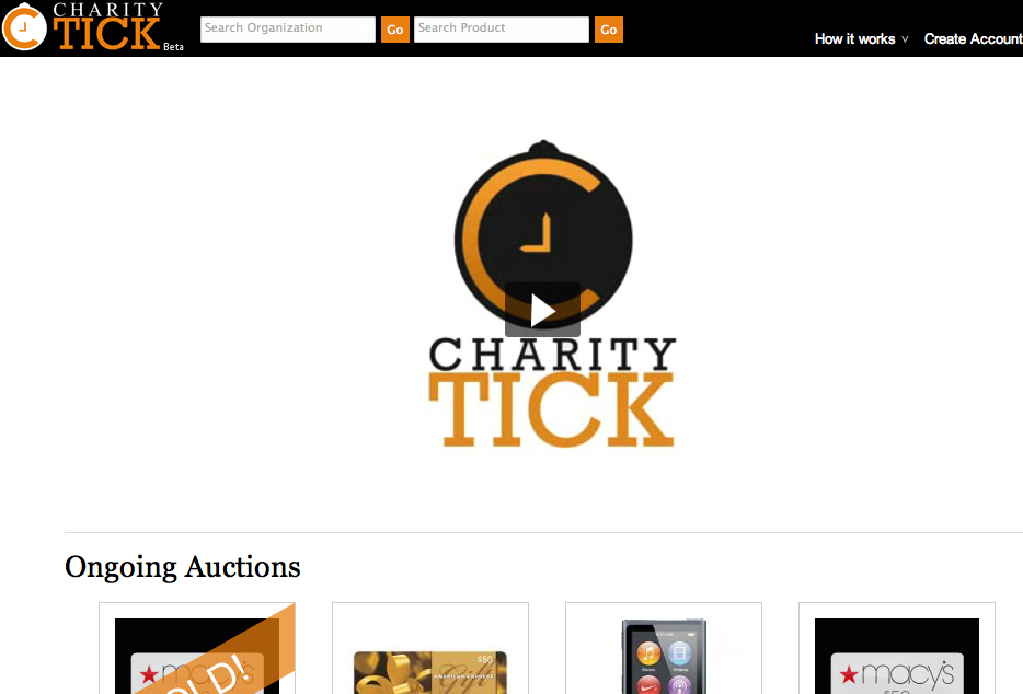 charitytick penny auctions homepage