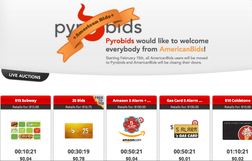 PyroBids  penny auction to credit bids from AmericanBids accounts
