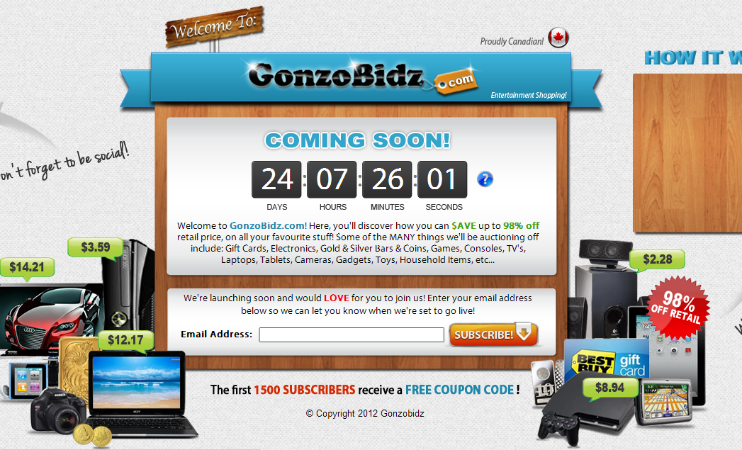 New penny auction gonzobids