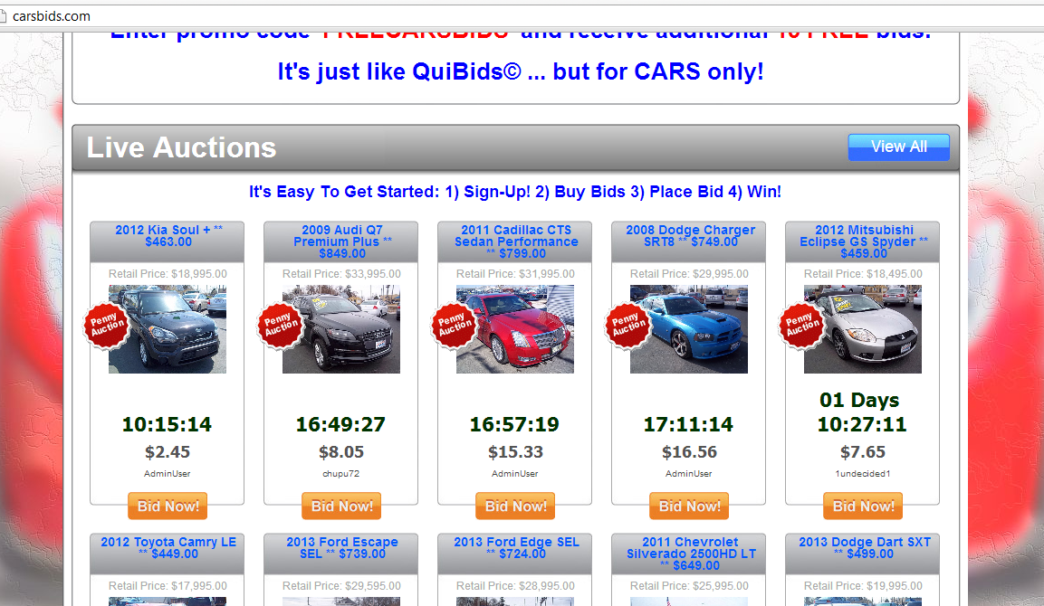 carsbids is new penny auction for cars but with hefty reserves penny auction watch penny auction watch