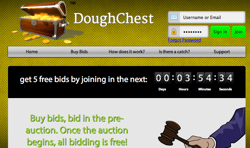 penny auction site dough chest
