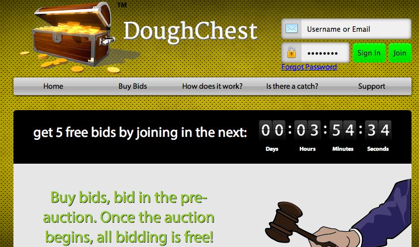 penny auction site dough chest