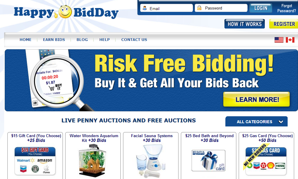 happybidday penny auctions