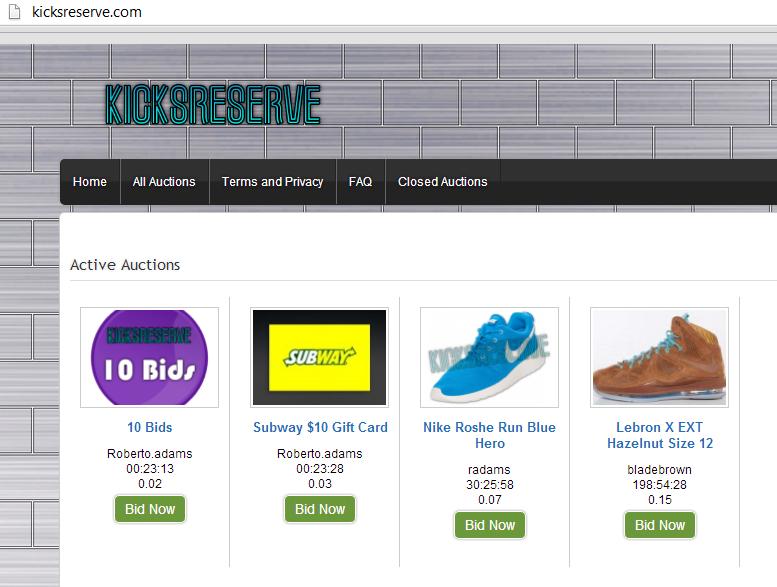 kicksreserve-penny-auction-site