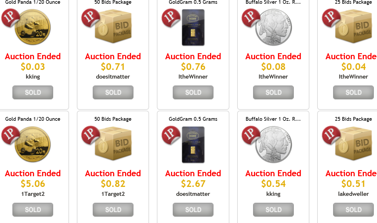 bullion auctions ended auctions
