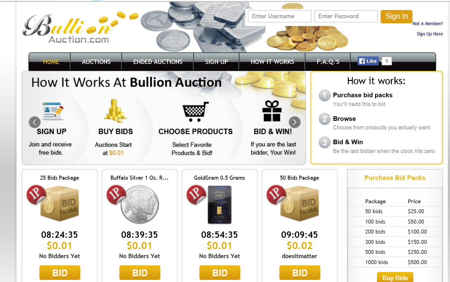 bullion auctions penny auction