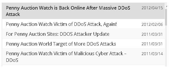 pennyauctionwatch ddos
