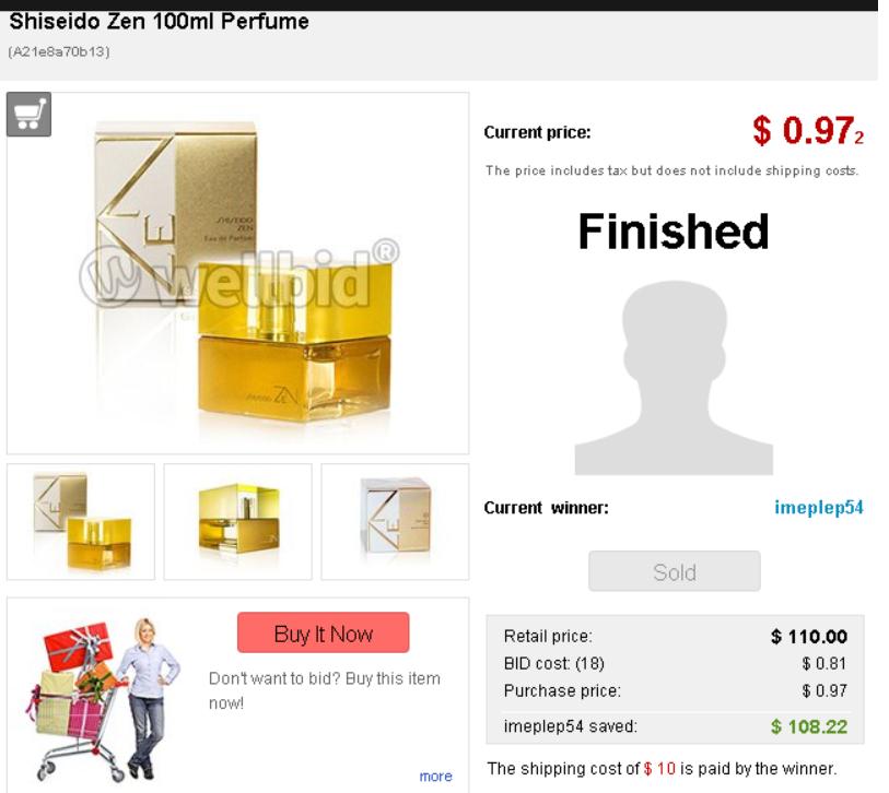 $110 value Shiseido 100ml Perfume ended for just $0.09
