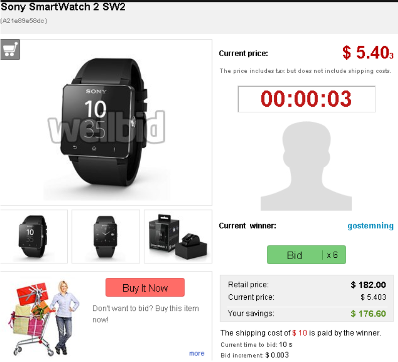 WellBid offers deals on new smartwatches like this new Sony Smartwatch 2 valued at $182.