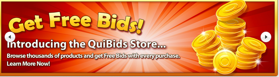 Get free bids in the quibids store for Get bids
